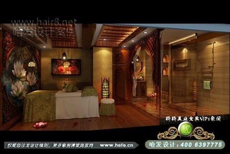 美容院装修设计   山东省威海市本案以东南亚风格为主,进入大