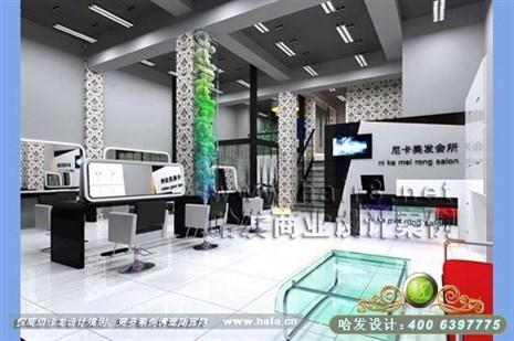 江苏省宜兴市黑白搭配风格美发店装修设计案例