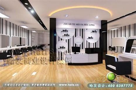 江苏省常州市黑白搭配风格美发店装修设计案例
